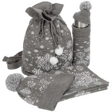 Набор teplo Snow Fairy: шапка, шарф, термос в чехле, сумка, серый фото