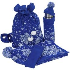 Набор teplo Snow Fairy: шапка, шарф, термос в чехле, сумка, синий фото