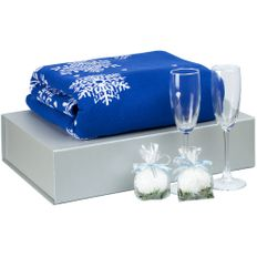 Набор Snow Frost: плед, два бокала для шампанского, свечи 2 шт., синий фото