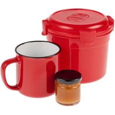 Набор Stacky: ланч-бокс Barrel Roll, кружка Dacha, мед Bee To Bear Mini, красный фото