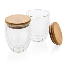 Набор стаканов с двойными стенками и бамбуковой крышкой XD Collection, 250 мл, 2 шт, прозрачный / коричневый фото