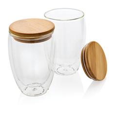 Набор стаканов с двойными стенками и бамбуковой крышкой XD Collection, 350 мл, 2 шт, прозрачный / коричневый фото