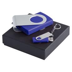 Набор Step Up: внешний аккумулятор Twist, флешка Twist 16 Гб, серебристый/ синий фото