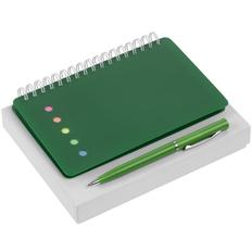 Набор Stick: блокнот Stick, ручка шариковая Slider, зеленый фото