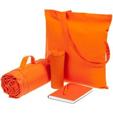 Набор Stitch Pitch: сумка, плед, термостакан, ежедневник, ручка шариковая, оранжевый фото