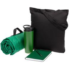 Набор Stitch Pitch: сумка, плед, термостакан, ежедневник, ручка шариковая, зеленый / чёрный фото