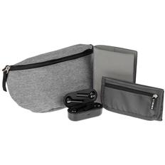 Набор Street Beat: сумка поясная, кошелек Torren, беспроводные наушники Nextlevel, обложка для паспорта Devon, серый/ черный фото