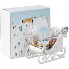Набор Susani: свеча, чай мандариновый, мед с имбирем, ситечко для чая, миндаль, белые сани деревянные, белый фото