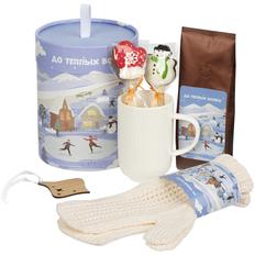Набор Sweet Dreams: кружка, варежки, какао, печенье, деревянная подвеска, разноцветный фото