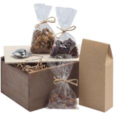 Набор Sylvan: чай, леденцовый сахар, орехи, клюква, ситечко, крафт / серебристый фото