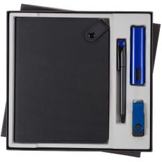 Набор Tenax Maxi: ежедневник Tenax, внешний аккумулятор Easy Metal 2200 mAh, флешка Twist Color 8 Гб, ручка шариковая Prodir DS1 TMM Dot, черный / синий фото