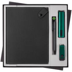 Набор Tenax Maxi: ежедневник Tenax, внешний аккумулятор Easy Metal 2200 mAh, флешка Twist Color 8 Гб, ручка шариковая Prodir DS1 TMM Dot, черный / зеленый фото