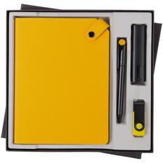 Набор Tenax Maxi: ежедневник Tenax, внешний аккумулятор Easy Metal 2200 mAh, флешка Twist Color 8 Гб, ручка шариковая Prodir DS1 TMM Dot, черный / желтый фото