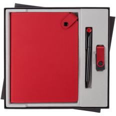 Набор Tenax Memory: ежедневник недатированный Tenax, флешка Twist Color 8 Гб, ручка шариковая Prodir, красный / черный фото