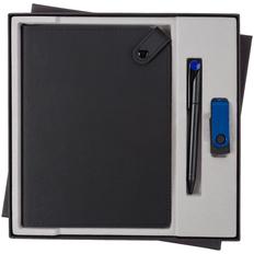 Набор Tenax Memory: ежедневник недатированный Tenax, флешка Twist Color 8 Гб, ручка шариковая Prodir, синий / черный фото