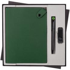 Набор Tenax Memory: ежедневник недатированный Tenax, флешка Twist Color 8 Гб, ручка шариковая Prodir, зеленый / черный фото
