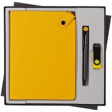 Набор Tenax Memory: ежедневник недатированный Tenax, флешка Twist Color 8 Гб, ручка шариковая Prodir, желтый / черный фото