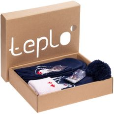 Набор Teplo Merry Fellow Friends: джемпер, шарф, шапка, варежки, синий / белый фото