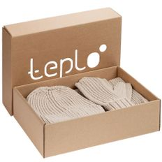 Набор Teplo Nordkyn Full Set: шапка, шарф, варежки, бежевый фото