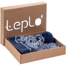 Набор Teplo Onego: шарф, шапка, варежки, синий фото