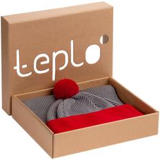 Набор Teplo Snappy: шапка, шарф, светло-серый / красный фото