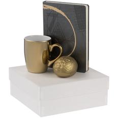 Набор Think Big: ежедневник «Буквы-цифры», кружка Lacerta, антистресс «Золотой мозг», золотистый фото