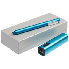 Набор Topper: ручка шариковая Slider Silver, внешний аккумулятор Easy Metal 2200 mAh, бирюзовый фото