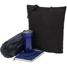 Набор Town Lawn: сумка, плед, термостакан, ежедневник, ручка, чёрный / синий фото