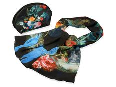Набор Цветы: косметичка и шарф, черный, разноцветный фото