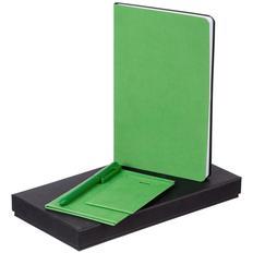 Набор Twill Simple: блокнот, обложка для паспорта, чехол для пропуска, ручка шариковая Clear Solid, зеленый фото