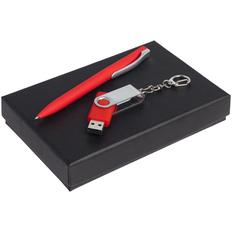Набор Twist Classic: ручка шариковая Pin Soft Touch, флешка Twist 16 Гб, красный фото