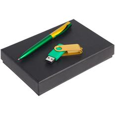 Набор Twist Fashion: ручка шариковая Pin Fashion, флешка Twist Color 16 Гб, зеленый / золотистый фото