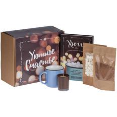 Набор «Уютное счастье»: свеча Glimmy, кружка Dacha, какао Santa Ana, маршмеллоу Mellow Friend, книга, коричневый фото