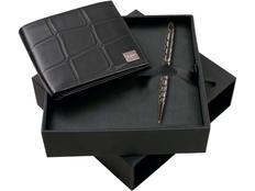 Набор Ungaro: портмоне мужское, ручка шариковая, черный фото