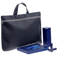 Набор «Управление персоналом»: ежедневник недатированный, игра «Деревянная башня мини», сумка-папка Simple, ручка шариковая Pin Special, синий фото