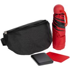 Набор Urban Pack: поясная сумка, внешний аккумулятор Full Feel 5000 мАч, складной зонт Cameo, чехол для карточек Dorset, черный/ красный фото