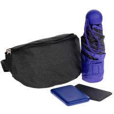 Набор Urban Pack: поясная сумка, внешний аккумулятор Full Feel 5000 мАч, складной зонт Cameo, чехол для карточек Dorset, черный/ синий фото