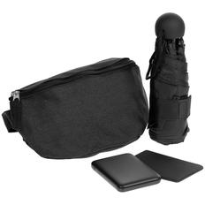 Набор Urban Pack: сумка поясная, зонт складной, внешний аккумулятор Full Feel 5000 мАч, чехол для карточек Dorset, черный фото