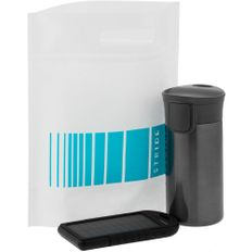 Набор Stride Vattensol: термостакан Tralee, внешний аккумулятор Harthill 5000 mAh, черный фото