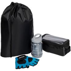 Набор велосипедиста Spokes And Levers: перчатки для фитнеса, охлаждающее полотенце, велосумка, черный фото
