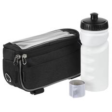 Набор велосипедиста Downhill: велосумка Lead Foot, бутылка для велосипеда Lowry, светоотражающий браслет Lumi, черный / белый фото