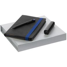 Набор Velours: ежедневник недатированный, внешний аккумулятор Easy Metal 2200 mAh, ручка шариковая Prodir DS3 TFF, черный / синий фото