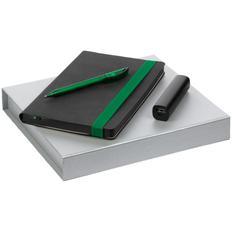 Набор Velours: ежедневник недатированный, внешний аккумулятор Easy Metal 2200 mAh, ручка шариковая Prodir DS3 TFF, черный / зеленый фото