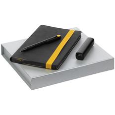 Набор Velours: ежедневник недатированный, внешний аккумулятор Easy Metal 2200 mAh, ручка шариковая Prodir DS3 TFF, черный / желтый фото