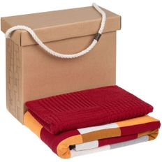 Набор Very Marque Farbe: плед, полотенце среднее, бордовый фото
