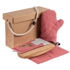 Набор Very Marque Feast Mist: фартук, прихватка, доска разделочная Kitchenery, сервировочная салфетка, куверт, розовый фото