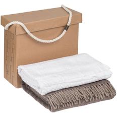 Набор Very Marque Morena: плед, полотенце банное большое, бежевый / белый фото