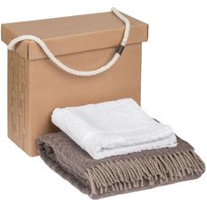 Набор Very Marque Morena: плед, полотенце банное среднее, бежевый / белый фото