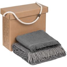 Набор Very Marque Morena: плед, полотенце банное среднее, серый фото