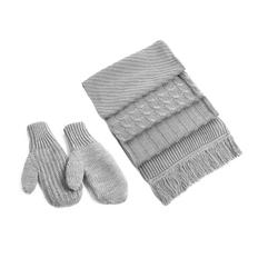 Набор вязаный фактурный: шарф и варежки, серый фото